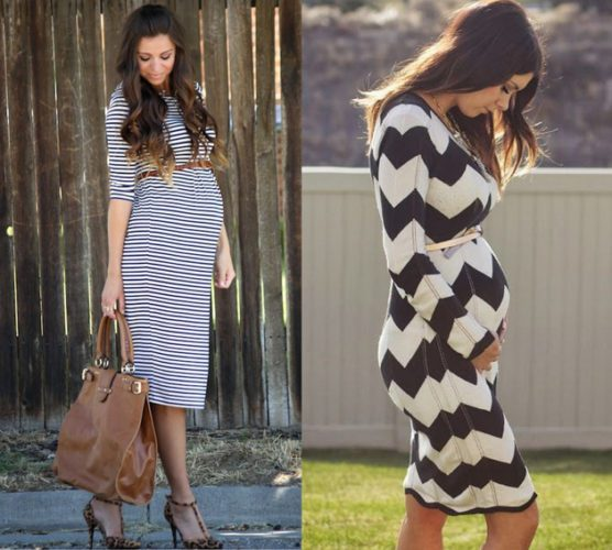 pregnant-style-dress-in-stripes Style-advisor.com